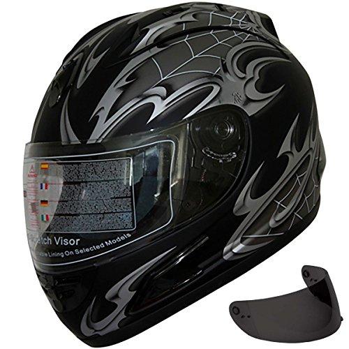 Motorcycle Street Sport Bike Helmet Full Face Helmet 2 Visors Comes with Clear Shield and Free Dark Tinted Shield (108 Matt Black, (108 Matt)