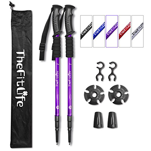 TheFitLife Nordic Walking Trekking Poles - 2 Packs with Antishock and Quick Lock System, Telescopic, Collapsible, Ultralight for Hiking, Camping, Mountaining, Backpacking, Walking, Trekking (Purple)