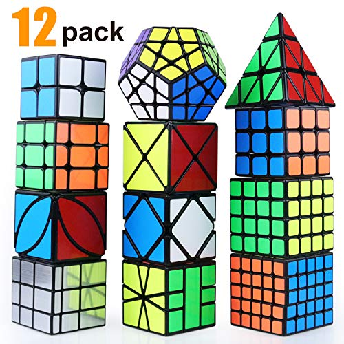 Puzzle Toy Speed Cube Set, 2x2, 3x3, 4x4, 5x5,SQ, X, Pyramid, Skewb,Moving Edge,Ivy, Mirror and Megaminx Cube -Toy Puzzles Cube for Kids and Adults(12 Pack)