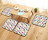 Leighhome Fillet Chair Cushion Hand Print Cute Teamwork Painting Kids Fun Games Illustration Print Red Teal Yellow Suitable for The Chair W13.5 x L13.5/4PCS Set