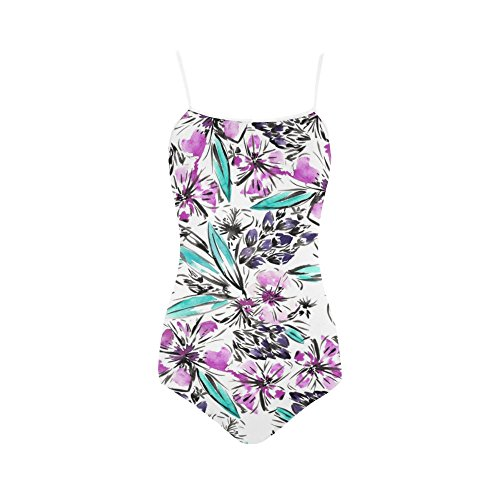 Abbie-Miller-tropical-floral-Womens-Slip-One-Piece-Swimsuit-Swimwear-Bikini-White
