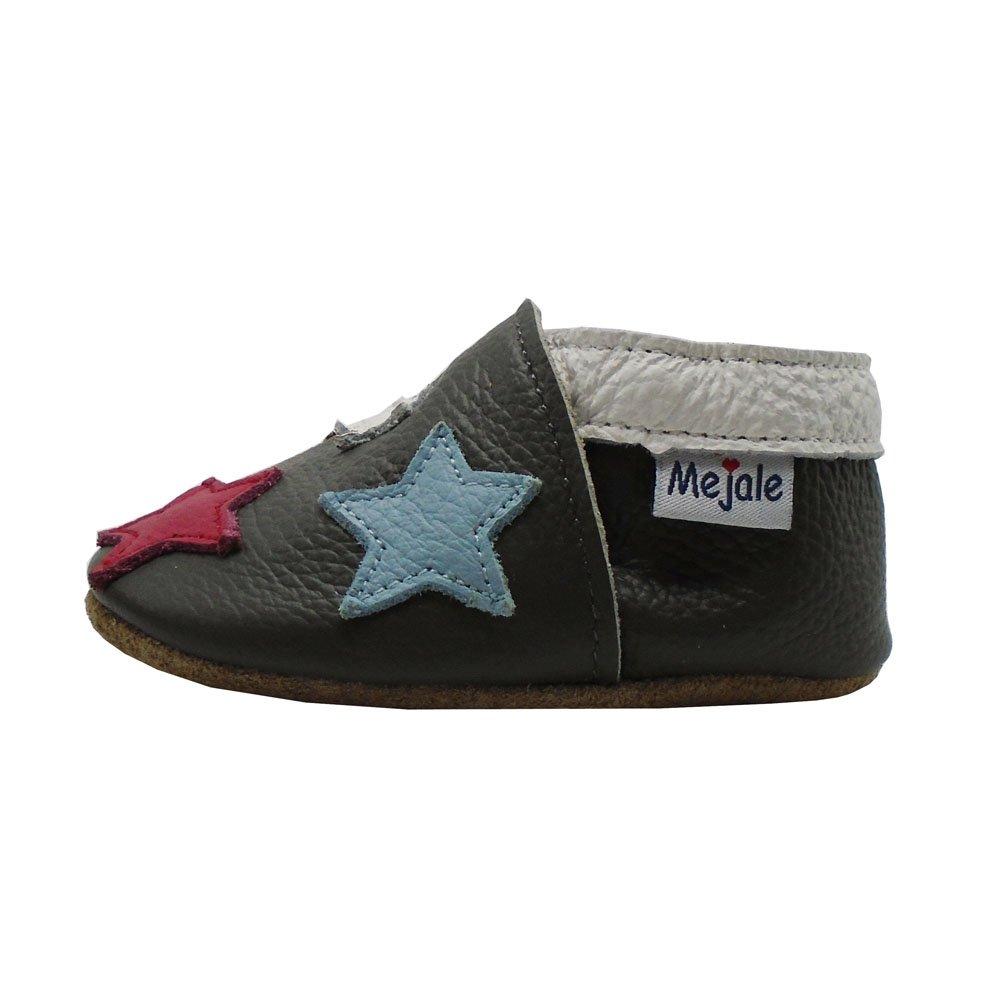 Bunte Sterne - Dunkelgrau 18-24 Monate//5.9 zoll Mejale Cuir Chaussures b/éb/é Chaussons b/éb/é Chaussures pour Enfants Chaussons