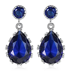 Chandelier Earrings Studs Rose Quartz Platinum Plated Blue Zircon for Women Girl - Blue Earing Jwewlry with Gift Box