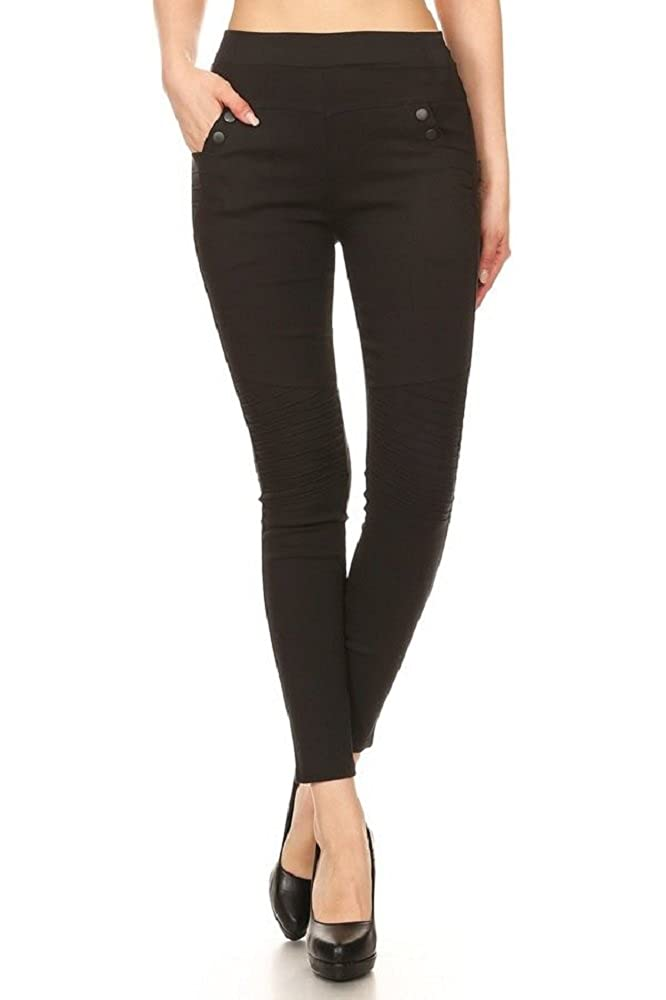 c52ba1b21015d1 Jvini Women's High Waisted Pleated Pull-On Stretchy Skinny Jeggings with  Pockets at Amazon Women's Clothing store: