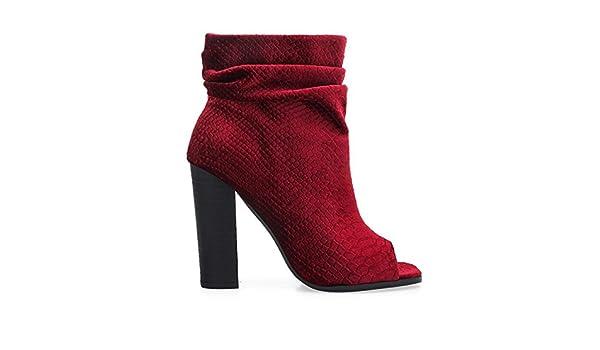 bb937346c812 Amazon.com   Privileged by J.C. DOSSIER Misha Wine Velvet Open Toe Block  Heel Ankle Booties   Ankle & Bootie