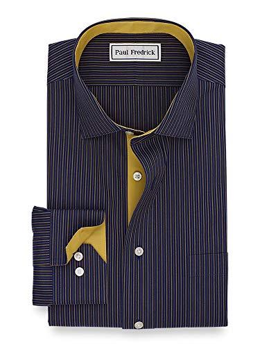 Paul Fredrick Men's Classic Fit Non-Iron Cotton Stripe Dress Shirt Navy/Gold 18.5/35 (Paul Fredrick Trim)