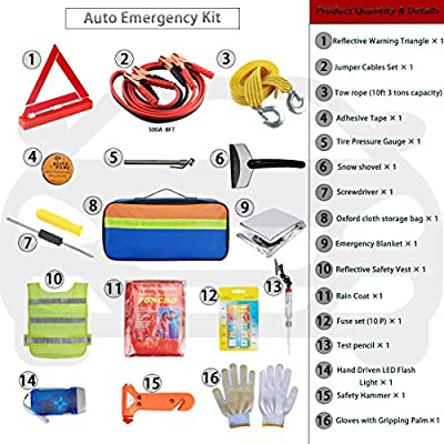 Multipurpose Roadside Emergency Assistance Kit-Jumper Cables,Safety Hammer,LED Flash Light,Tow Strap,Safety Vest and More Ideal Winter Survival Pack Accessory for Your Car,Truck or SUV: Automotive