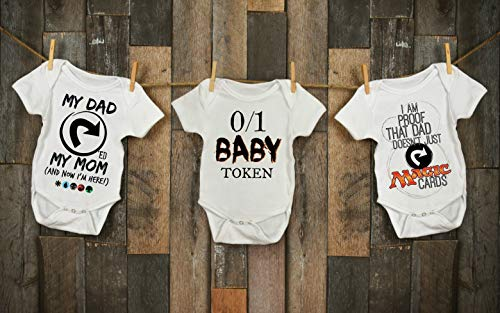 Magic the Gathering Baby Bodysuit 3 Pack Gift Set for Infant Toddler Kid Shirt Tapped Token Proof ProTour Champ