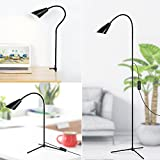 LED Floor & Desk Lamp 3-in-1, Flexible Gooseneck LED Lamp with C-Clamp and Tripod Base, Height and Angle Adjustable Reading Lamps, Energy-Saving Standing Lamp for Living Rooms Bedrooms Offices Study
