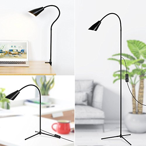 LED Floor & Desk Lamp 3-in-1, Flexible Gooseneck LED Lamp with C-Clamp and Tripod Base, Height and Angle Adjustable Reading Lamps, Energy-Saving Standing Lamp for Living Rooms Bedrooms Offices Study by Pavlit