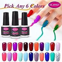 El kit de inicio de esmalte de uñas Clavuz Soak Off UV Gel, elige 6 colores