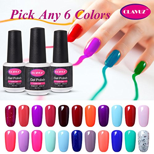 Clavuz Soak Off UV Gel Nail Polish Starter Kit, Pick Any 6 C