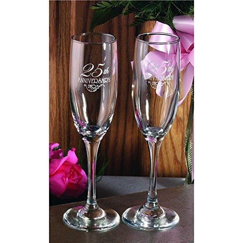 25th Anniversary Champagne - 25th Anniversary Flourish Toasting Flutes (Set of 2)