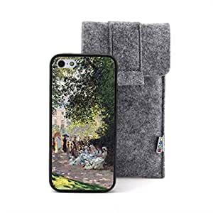 CaseCityLiu - Landscape: The Parc Monceau Claude Monet Oil Painting Design Black Bumper Plastic+TPU Case Cover for Apple iPhone 5 5s 5th 5g 5Generation Come With FREE Non Woven Packing Bag