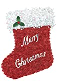 Amscan Deluxe Tinsel Christmas Stocking Hanging Decoration, Foil, 18'' x 16''
