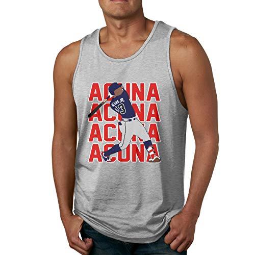 Moore Me Men's Sleeveless Tank Top Shirts Atlanta Acuna Text Pic Gym Vestl Sport T-Shirt Gray