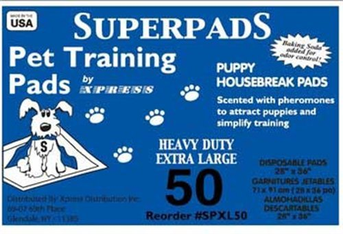SUPERPADS X-Large Maximum Absorbency 28 x 36-Inch Pet Training Pads, (Maximum Absorbency Puppy Pads)