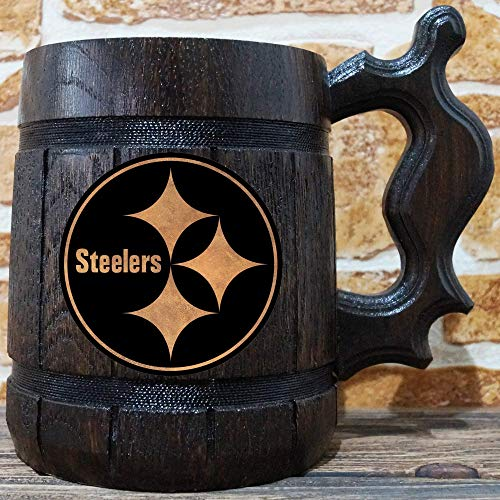 Personalized Beer Nfl - Pittsburgh Steelers Beer Mug, American Football Wooden Beer Stein, NFL Sport Gift, Personalized Beer Stein, Pittsburgh Steelers Tankard, Custom Gift for Men, Gift for Him