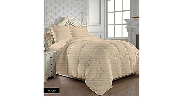 Ropa de cama egipcio - 600 hilos con diseño floral a juego para cama de matrimonio pequeña 200 GSM UK diseño a rayas con efecto piel de melocotón 100% ...