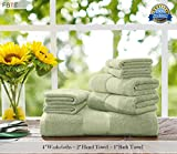 FBTS Basic Towel Sets Combination (Green, 4 x Washcloths, 2 x Hand Towel, 1 x Bath Towel) 7 Pieces Highly Absorbent Extra Soft Professional Grade Five-Star Hotel Quality