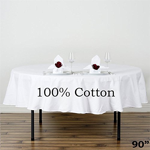 BalsaCircle 90-Inch White Premium Round Cotton Tablecloth Table Linens Wedding Party Events Decorations Kitchen Dining