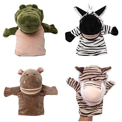 - JZH Pack of 4 Different Cartoon Animal Soft Plush Hand Puppets Finger Puppets Soft Plus, Baby Soft Velvet Dolls Props Toys Storytelling Toys.