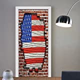 Gzhihine custom made 3d door stickers USA Flag Decor Fourth of July Independence Day and American Flag on Brick Block Print Kids Room Dorm Art Red Blue Brown For Room Decor 30x79