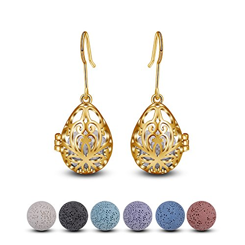INFUSEU Teardrop Flower Dangle Earrings Essential Oil Women Lava Stone Diffuser Aromatherapy Jewelry ()