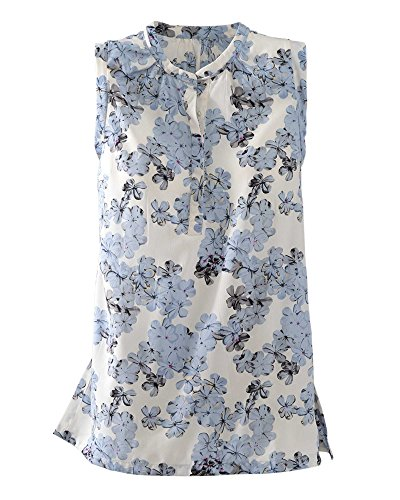 Antilia Femme Floral Sleeveless Top  Blue  Medium