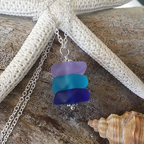 Handmade in Hawaii, purple blue cobalt sea glass necklace, sterling silver chain, FREE gift wrap, FREE gift message, FREE shipping