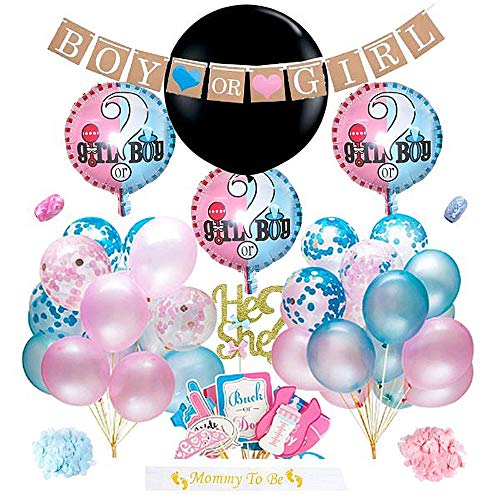 Boy or Girl Gender Reveal Party Supplies Kit with Gender Reveal Confetti Balloon | 67 Piece Decoration Set with Cake Topper | Blue and Pink Gender Props | Mommy To Be Sash | 30 Premium Balloons By Our