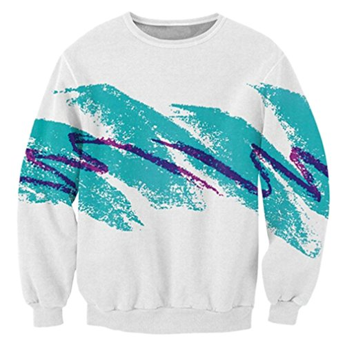RAISEVERN Fashion Paper Cup Printed Casual Hipster Pullover Sweatshirts