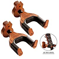 Neboic Guitar Wall Mount, Auto Lock Guitar Wall Hanger, Hard Wood Base in Guitar