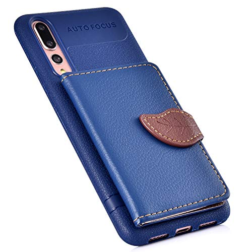 Price comparison product image MoreChioce Compatible with Huawei P20 Pro Case, Huawei P20 Pro Leather Case, Premium PU Leather Back Cover Flip Case with Card Slot, Stand Holder Features and Leaf Shape Magnetic Closure, Blue