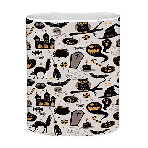 Funny Coffee Mug with Quote Vintage Halloween 11 Ounces Funny Coffee Mug Halloween Cartoon Jack o Lantern Tombstone Skulls and Bones Decorative Light Grey Multicolor]()