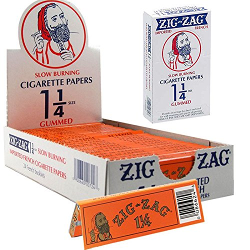Full Box Zig Zag Cigarette Rolling Paper RYO 1.25 1 1/4 Gummed Orange Paper 24 Booklets