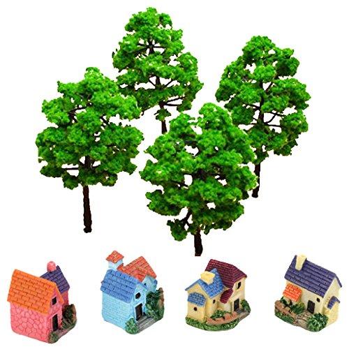 MagiDeal Landscape DIY Set Mini Dollhouse Bonsai Villa And Model Tree Scenery Decor