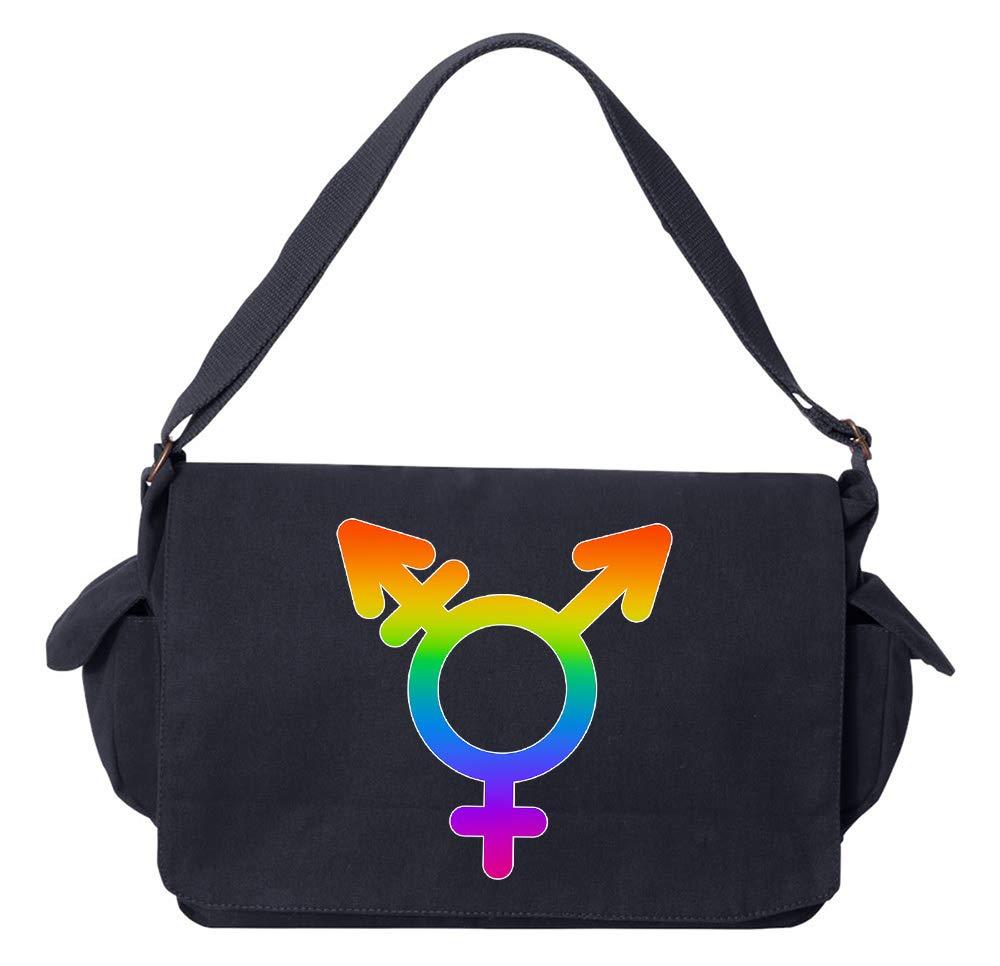 Tenacitee LGBTQ Transgender Symbol Flamingo Raw Edge Canvas Messenger Bag