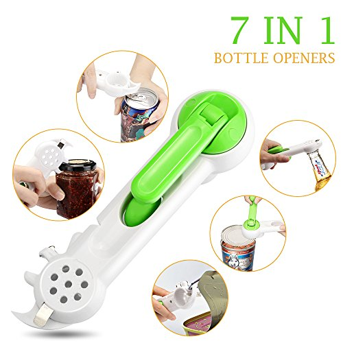 Bottle Opener Eco-Home Can Opener 7-in-1 Stainless Steel Blade Tin Jar Opener for Kitchen Cans, Bottles, Wine, Beer and Soda - Grinder Can Soda