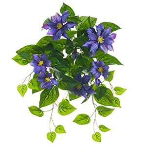 """20.5"""" UV-Resistant Outdoor Artificial Hanging Clematis Flower Bush -Purple (pack of 6) 5"""