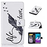 BoxTii Samsung Galaxy S6 Edge Case + Free Tempered Glass Screen Protector, Premium Leather Wallet Case for Samsung Galaxy S6 Edge, Flip Wallet with Card Slots (#1 Feather)