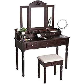 Amazon Com Coaster Queen Anne Style Vanity Table And