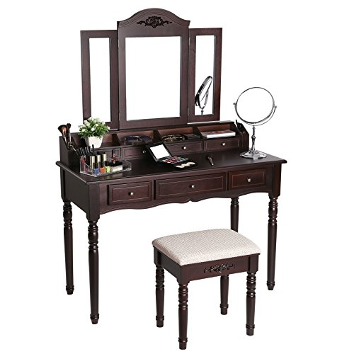 SONGMICS 7 Drawers Vanity Table Set with Tri-folding Mirror 6 Organizers Makeup Dressing Table with Cushioned Stool Brown URDT06Z by SONGMICS