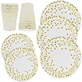 Gold Dot Disposable Paper Plates and Cups Set For 50; Gold Metallic Foil 50 Dinner Plates 50 Dessert Plates and 50 9 oz Cups for Bridal Baby Shower Wedding Anniversary Engagement Birthday Party