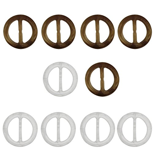 Coolrunner 10 Pcs Plastic Smoothly Fashion Scarf Clip Ring for Twilly Neckerchief Ring Holder (Style 3)