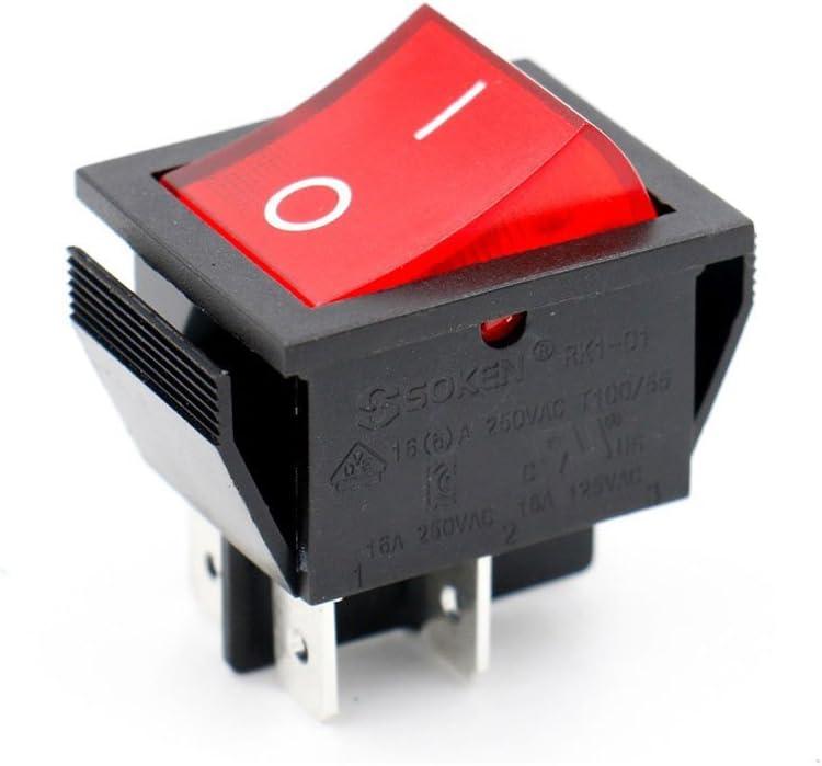 Baomain Soken Red Light DPST ON/Off Snap in Boat Rocker Switch 4 Pin 16A/250V UL TUV List 1 Pack