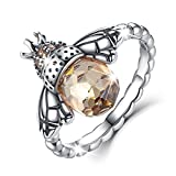 BAMOER Sterling Silver Queen Bee with Clear Cubic Zircon Stacking Band Ring,Size 5