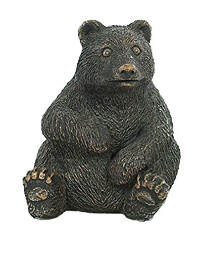 Solid Rock Stoneworks Sitting Bear Cub Stone Garden Statue 12in Tall Autumn Brown Color