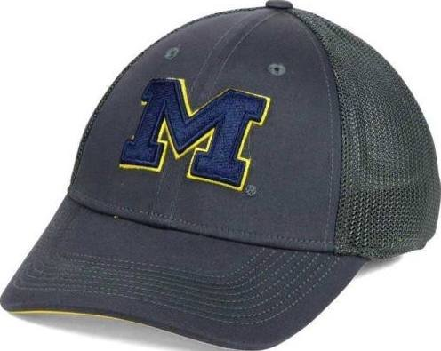 (NIKE Legacy 91 Dri Fit Michigan Wolverines Mesh Swoosh Flex Fit Cap Hat Anthracite)