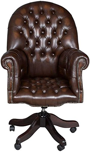 Directors Style Leather Swivel Desk Chair ()